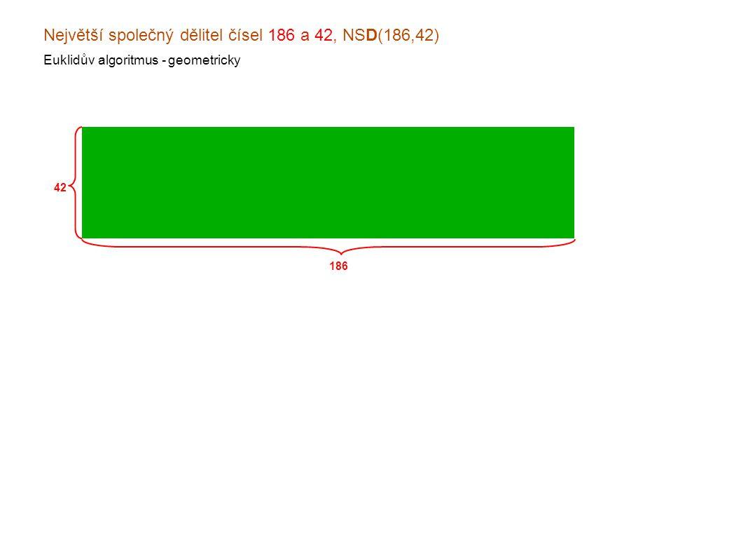 Největší společný dělitel čísel 186 a 42, NSD(186,42) Euklidův algoritmus - geometricky 186 42