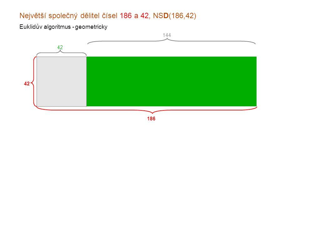 Největší společný dělitel čísel 186 a 42, NSD(186,42) Euklidův algoritmus - geometricky 186 42 144