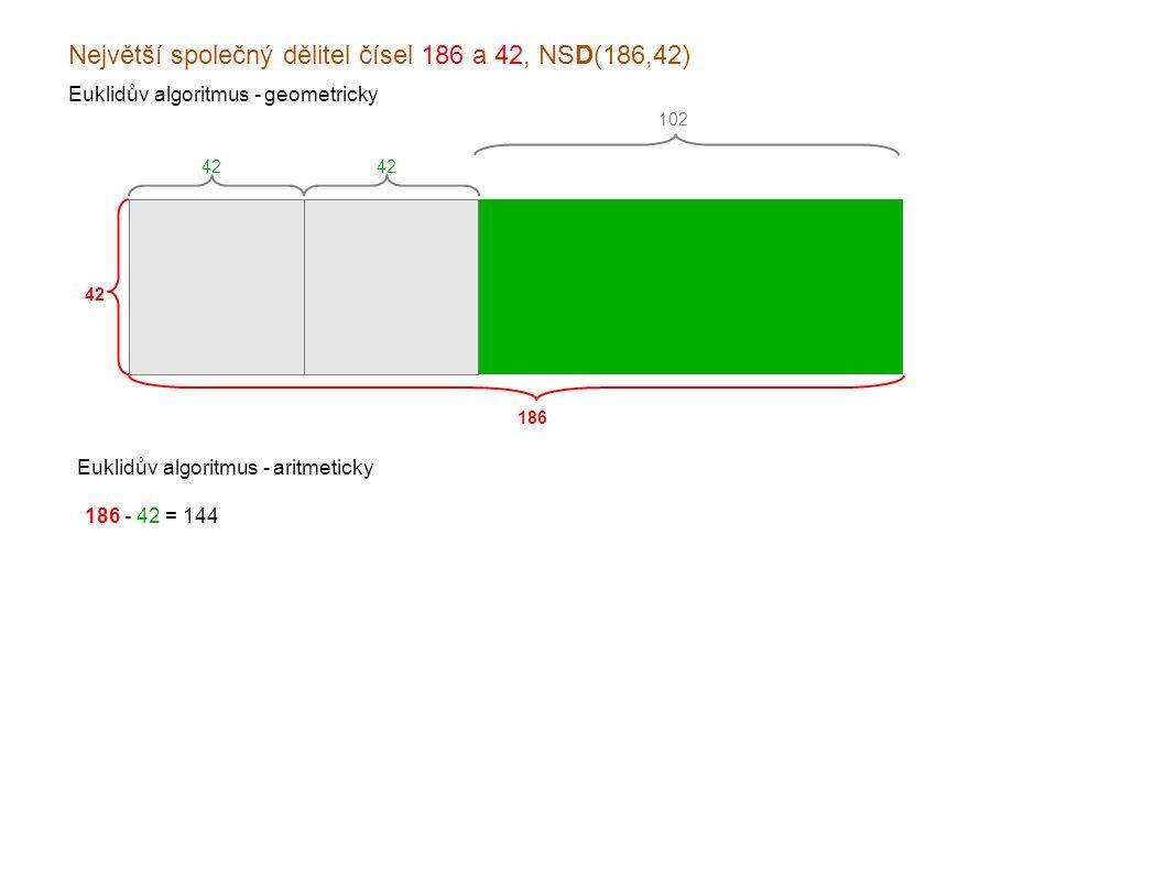 Největší společný dělitel čísel 186 a 42, NSD(186,42) Euklidův algoritmus - geometricky 186 42 Euklidův algoritmus - aritmeticky 186 - 42 = 144 144 - 42 = 102 102 - 42 = x60 060 - 42 = x18 x42 - 18 = x24 x24 - 18 = xx6 x18 - 6 = x12 x12 - 6 = xx6 xx6 - 6 = xx0 102 42