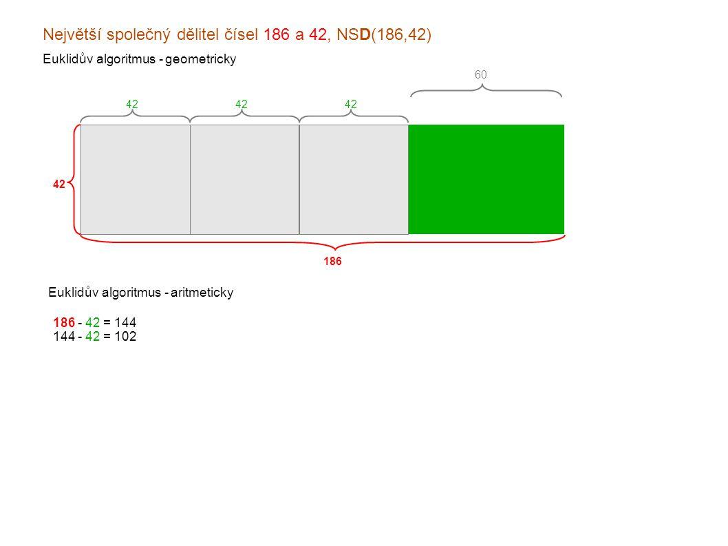 Největší společný dělitel čísel 186 a 42, NSD(186,42) Euklidův algoritmus - geometricky 186 42 Euklidův algoritmus - aritmeticky 60 42 186 - 42 = 144 144 - 42 = 102 102 - 42 = x60 060 - 42 = x18 x42 - 18 = x24 x24 - 18 = xx6 x18 - 6 = x12 x12 - 6 = xx6 xx6 - 6 = xx0