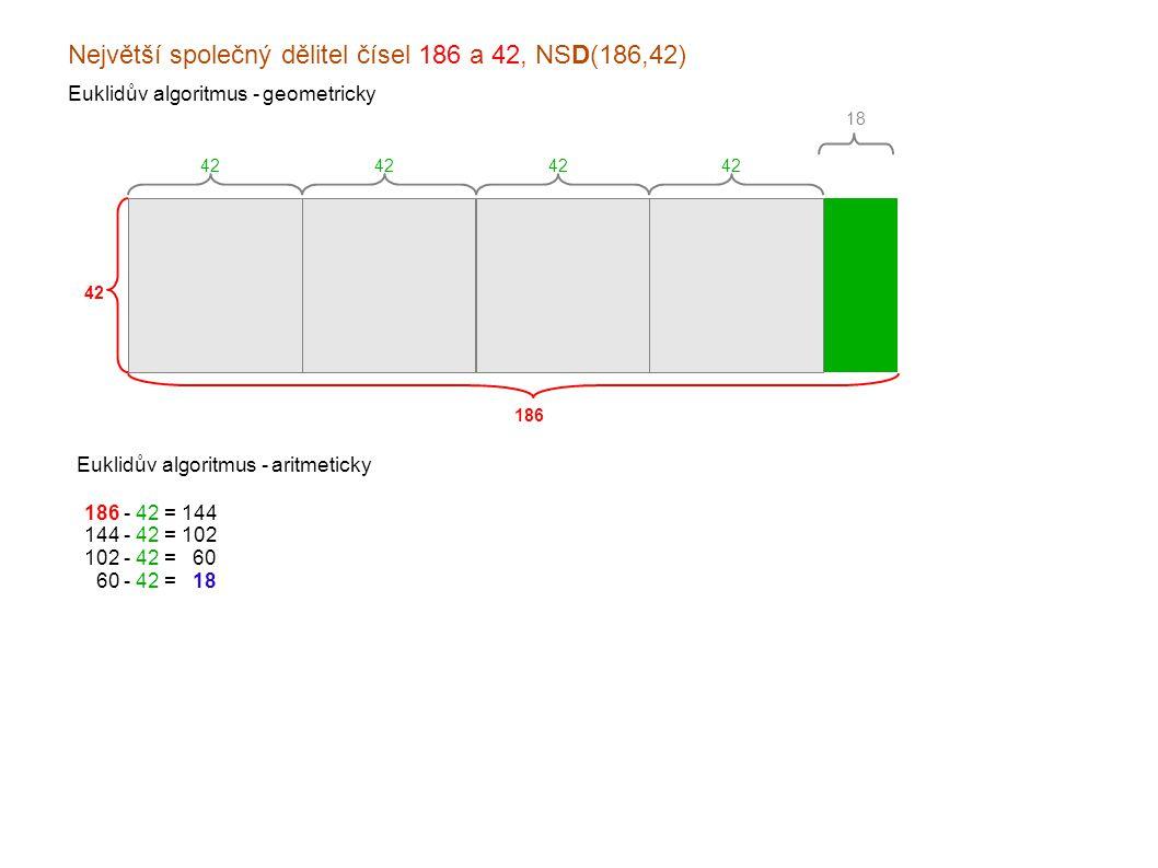 Největší společný dělitel čísel 186 a 42, NSD(186,42) Euklidův algoritmus - geometricky 186 42 Euklidův algoritmus - aritmeticky 18 42 186 - 42 = 144