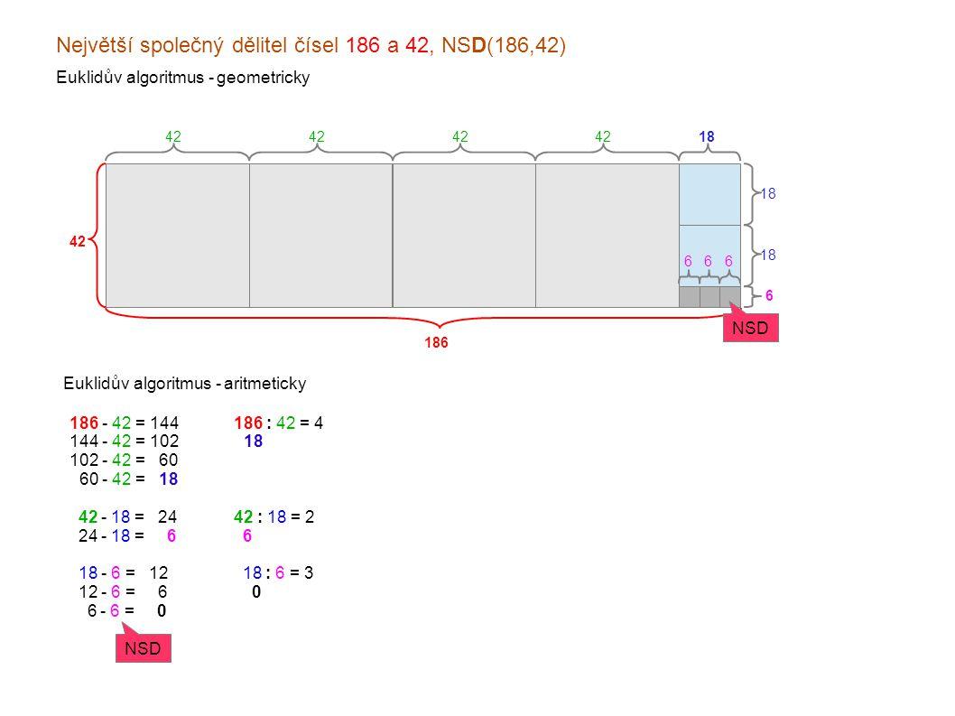 Největší společný dělitel čísel 186 a 42, NSD(186,42) Euklidův algoritmus - geometricky 186 42 Euklidův algoritmus - aritmeticky 42 18 6 666 186 - 42