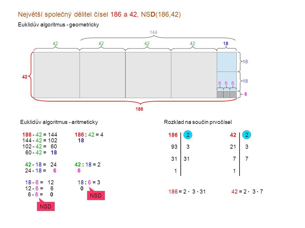 Největší společný dělitel čísel 186 a 42, NSD(186,42) Euklidův algoritmus - geometricky Euklidův algoritmus - aritmeticky 186 - 42 = 144 144 - 42 = 10