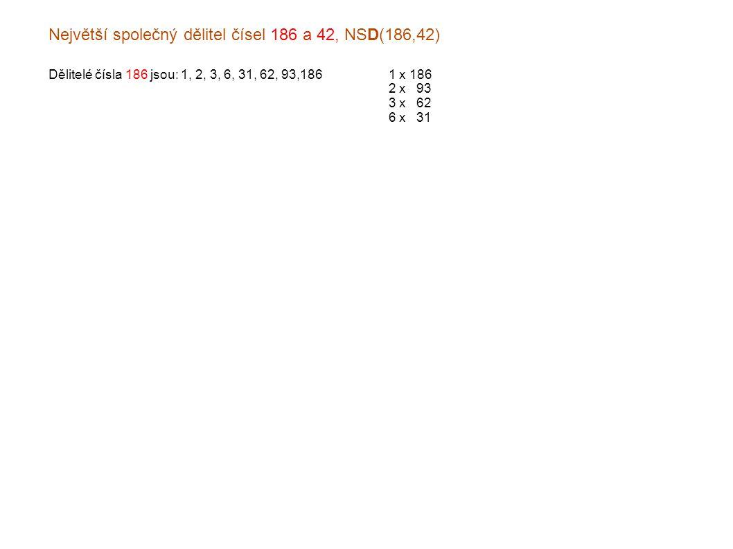 Největší společný dělitel čísel 186 a 42, NSD(186,42) Dělitelé čísla 186 jsou: 1, 2, 3, 6, 31, 62, 93,1861 x 186 2 x x93 3 x x62 6 x x31