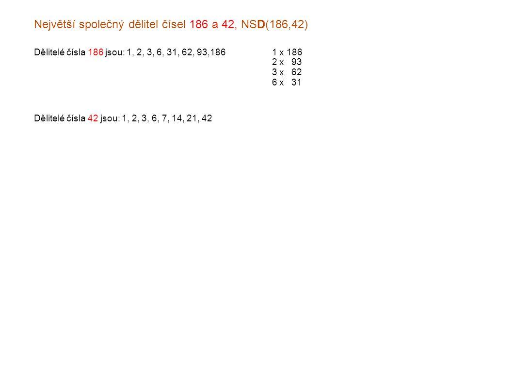 Největší společný dělitel čísel 186 a 42, NSD(186,42) Dělitelé čísla 186 jsou: 1, 2, 3, 6, 31, 62, 93,1861 x 186 2 x x93 3 x x62 6 x x31 Dělitelé čísla 42 jsou: 1, 2, 3, 6, 7, 14, 21, 42
