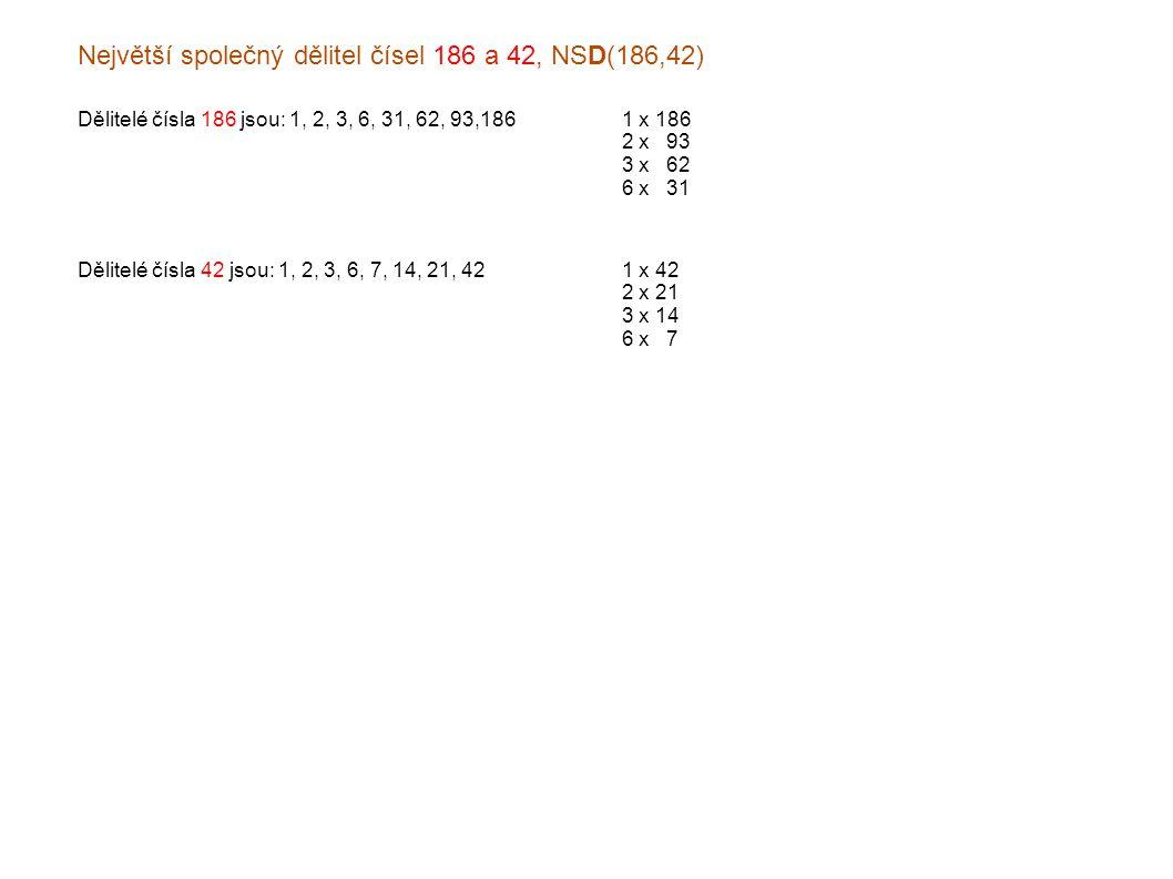 Největší společný dělitel čísel 186 a 42, NSD(186,42) Dělitelé čísla 186 jsou: 1, 2, 3, 6, 31, 62, 93,1861 x 186 2 x x93 3 x x62 6 x x31 Dělitelé čísla 42 jsou: 1, 2, 3, 6, 7, 14, 21, 421 x 42 2 x 21 3 x 14 6 x x7