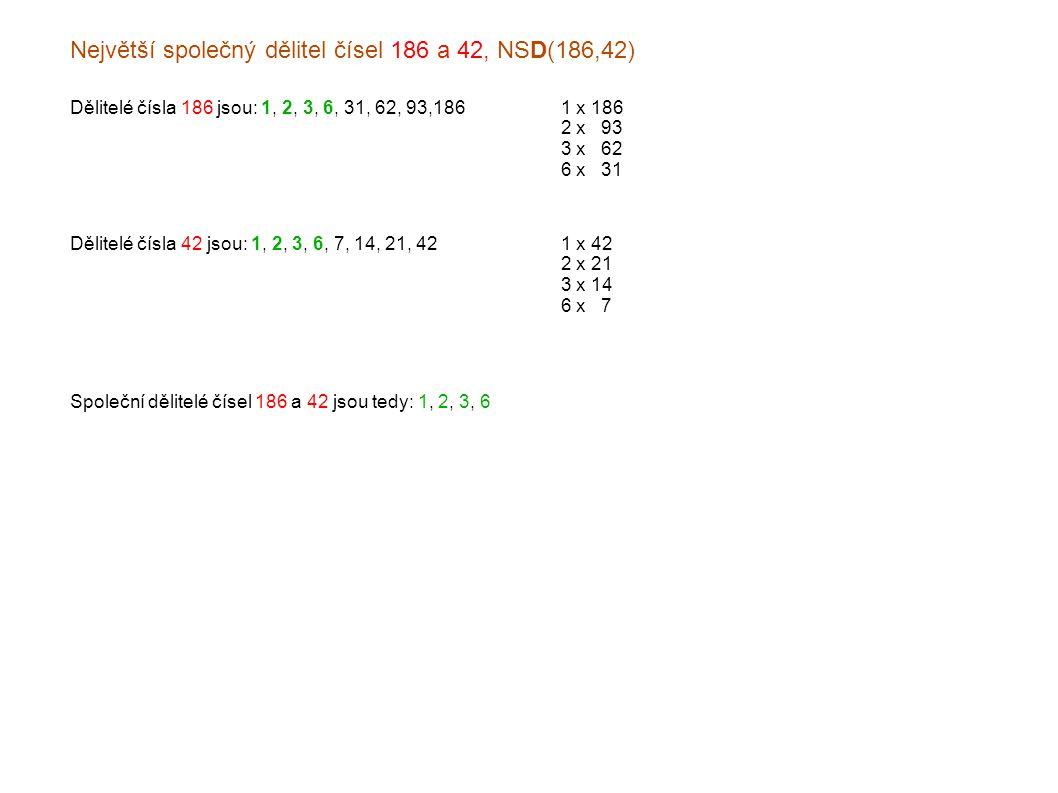 Největší společný dělitel čísel 186 a 42, NSD(186,42) Dělitelé čísla 186 jsou: 1, 2, 3, 6, 31, 62, 93,1861 x 186 2 x x93 3 x x62 6 x x31 Dělitelé čísla 42 jsou: 1, 2, 3, 6, 7, 14, 21, 421 x 42 2 x 21 3 x 14 6 x x7 Společní dělitelé čísel 186 a 42 jsou tedy: 1, 2, 3, 6