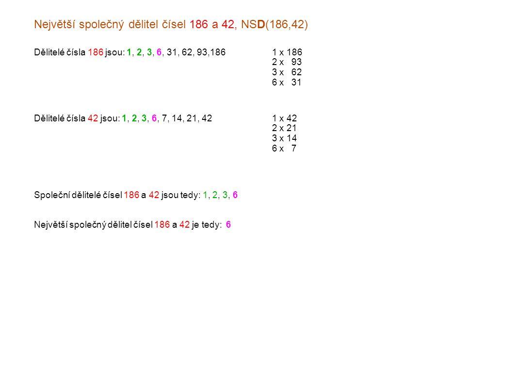 Největší společný dělitel čísel 186 a 42, NSD(186,42) Dělitelé čísla 186 jsou: 1, 2, 3, 6, 31, 62, 93,1861 x 186 2 x x93 3 x x62 6 x x31 Dělitelé čísla 42 jsou: 1, 2, 3, 6, 7, 14, 21, 421 x 42 2 x 21 3 x 14 6 x x7 Společní dělitelé čísel 186 a 42 jsou tedy: 1, 2, 3, 6 Největší společný dělitel čísel 186 a 42 je tedy: 6