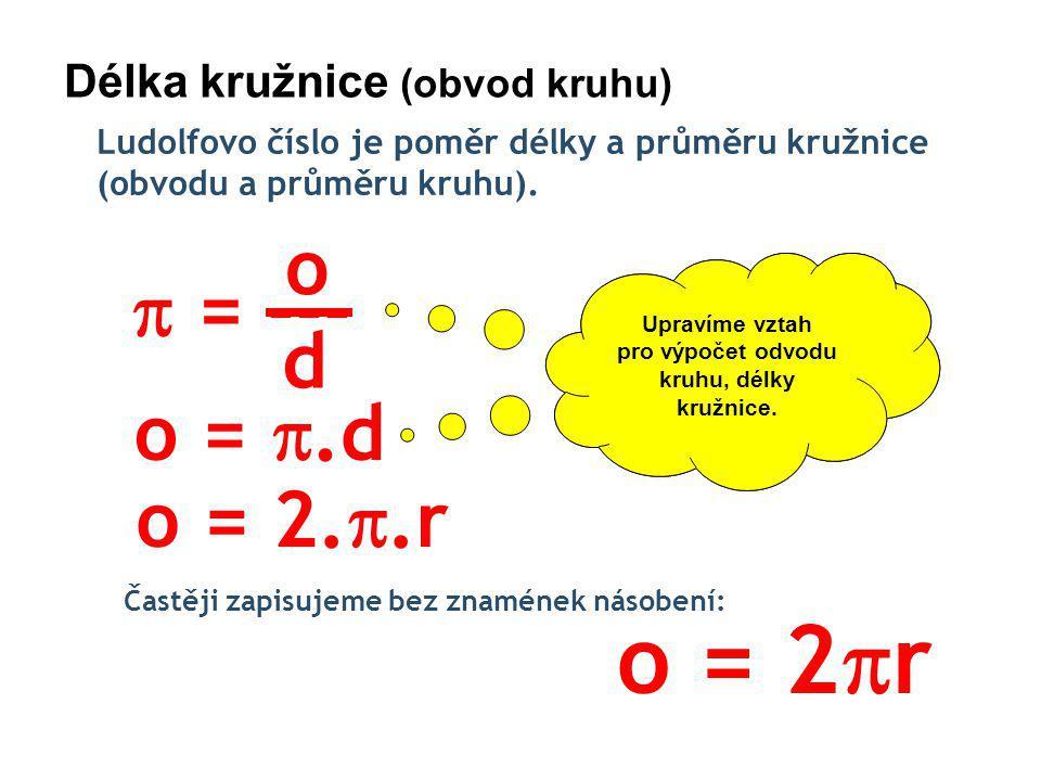 Délka kružnice (obvod kruhu) Ludolfovo číslo je poměr délky a průměru kružnice (obvodu a průměru kruhu).
