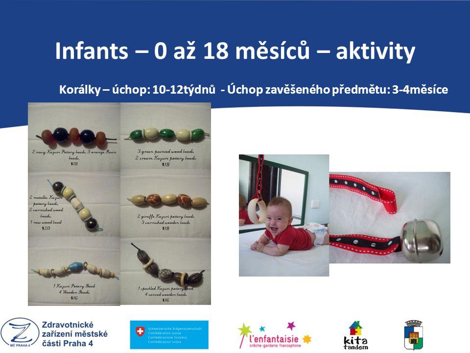 PEDAGOGIKA MARIE MONTESSORI Infants – 0 až 18 měsíců – aktivity Korálky – úchop: 10-12týdnů - Úchop zavěšeného předmětu: 3-4měsíce