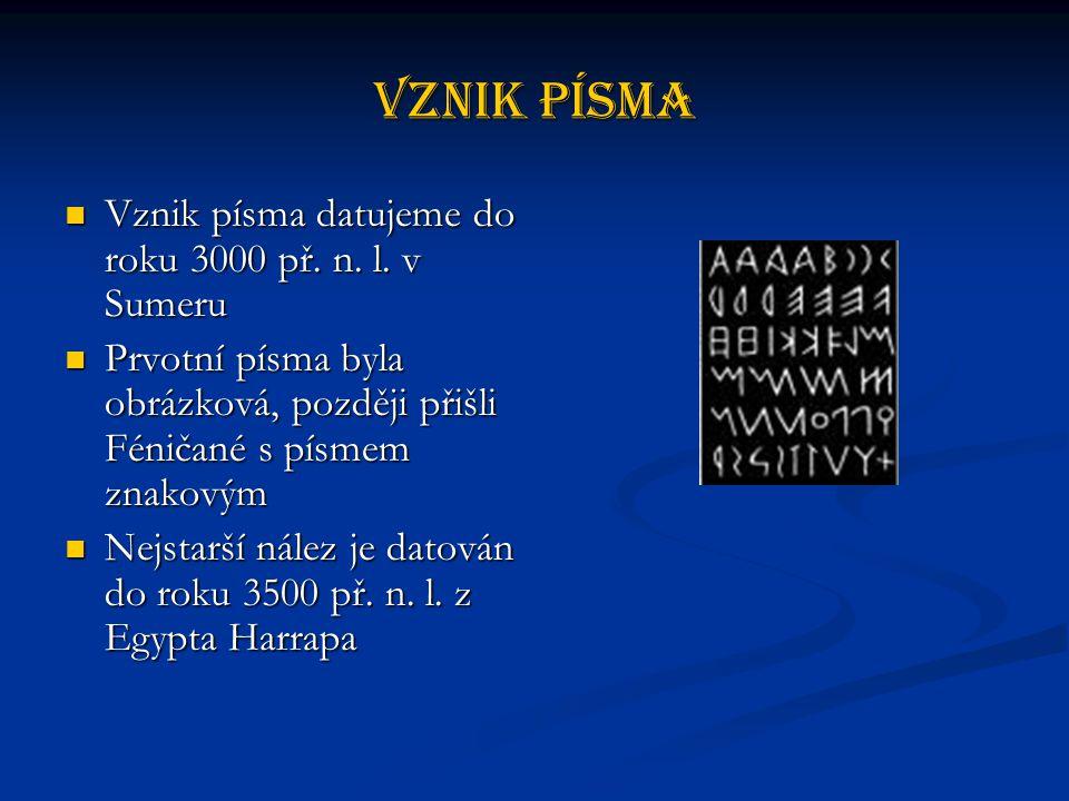 Vznik písma Vznik písma datujeme do roku 3000 př.n.