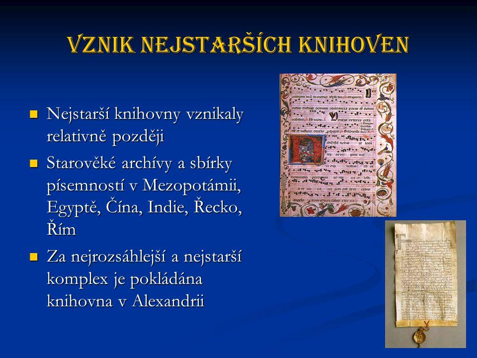 Vznik nejstarších knihoven Nejstarší knihovny vznikaly relativně později Nejstarší knihovny vznikaly relativně později Starověké archívy a sbírky písemností v Mezopotámii, Egyptě, Čína, Indie, Řecko, Řím Starověké archívy a sbírky písemností v Mezopotámii, Egyptě, Čína, Indie, Řecko, Řím Za nejrozsáhlejší a nejstarší komplex je pokládána knihovna v Alexandrii Za nejrozsáhlejší a nejstarší komplex je pokládána knihovna v Alexandrii