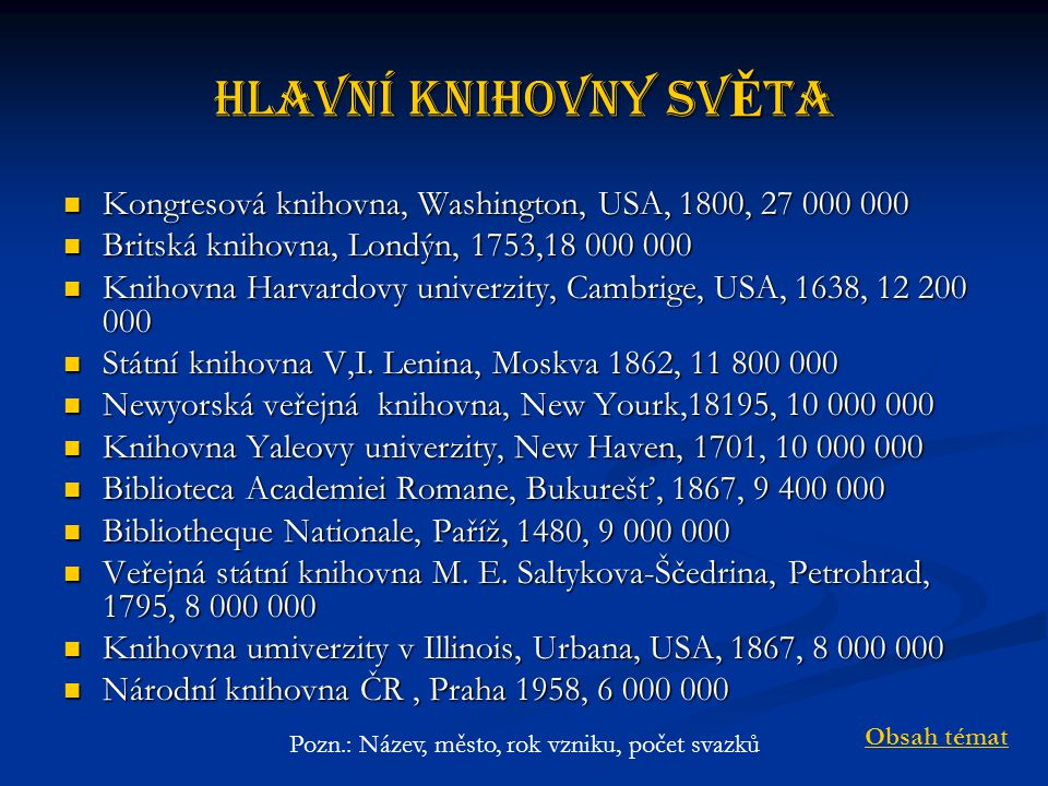 Hlavní knihovny svĚta Kongresová knihovna, Washington, USA, 1800, 27 000 000 Kongresová knihovna, Washington, USA, 1800, 27 000 000 Britská knihovna, Londýn, 1753,18 000 000 Britská knihovna, Londýn, 1753,18 000 000 Knihovna Harvardovy univerzity, Cambrige, USA, 1638, 12 200 000 Knihovna Harvardovy univerzity, Cambrige, USA, 1638, 12 200 000 Státní knihovna V,I.