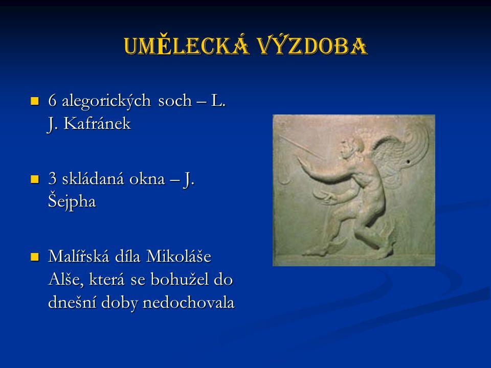 UmĚlecká výzdoba 6 alegorických soch – L.J. Kafránek 6 alegorických soch – L.