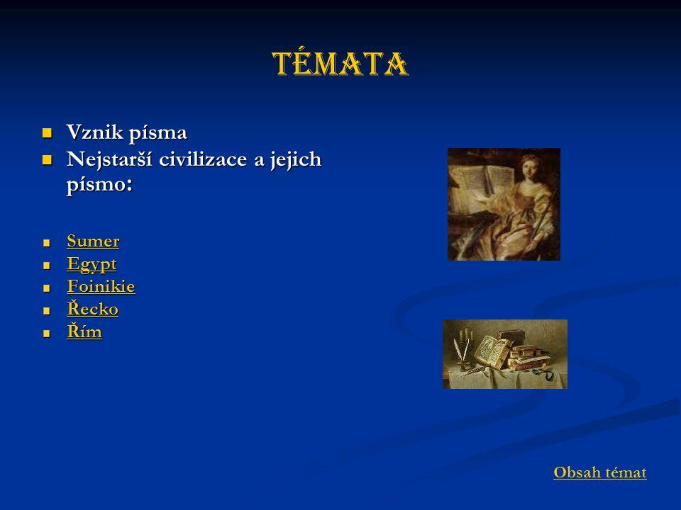 Témata Vznik písma Vznik písma Nejstarší civilizace a jejich písmo : Nejstarší civilizace a jejich písmo : Sumer Egypt Foinikie Řecko Řím Obsah témat