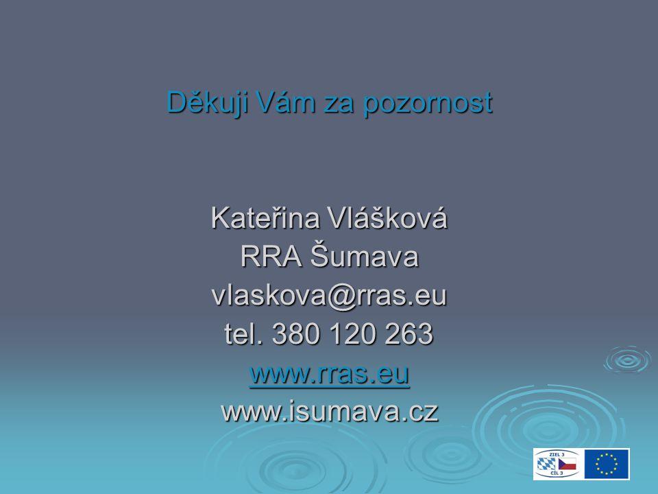Děkuji Vám za pozornost Kateřina Vlášková RRA Šumava vlaskova@rras.eu tel.