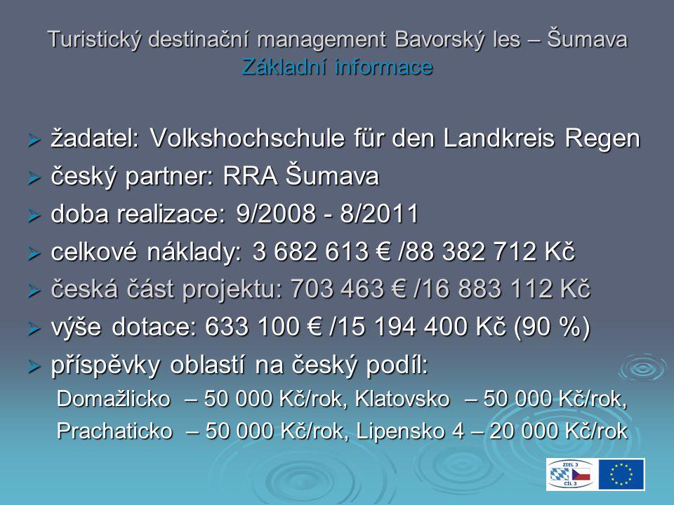 Turistický destinační management Bavorský les – Šumava Základní informace  žadatel: Volkshochschule für den Landkreis Regen  český partner: RRA Šumava  doba realizace: 9/2008 - 8/2011  celkové náklady: 3 682 613 € /88 382 712 Kč  česká část projektu: 703 463 € /16 883 112 Kč  výše dotace: 633 100 € /15 194 400 Kč (90 %)  příspěvky oblastí na český podíl: Domažlicko – 50 000 Kč/rok, Klatovsko – 50 000 Kč/rok, Domažlicko – 50 000 Kč/rok, Klatovsko – 50 000 Kč/rok, Prachaticko – 50 000 Kč/rok, Lipensko 4 – 20 000 Kč/rok Prachaticko – 50 000 Kč/rok, Lipensko 4 – 20 000 Kč/rok