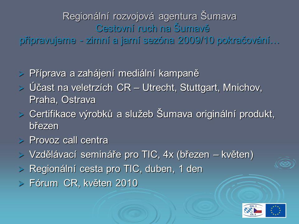 Regionální rozvojová agentura Šumava Cestovní ruch na Šumavě připravujeme - letní sezóna 2010  Vydání novin Doma na Šumavě 8, květen  Vydání katalogu cert.