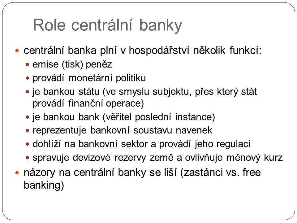 Role centrální banky centrální banka plní v hospodářství několik funkcí: emise (tisk) peněz provádí monetární politiku je bankou státu (ve smyslu subj