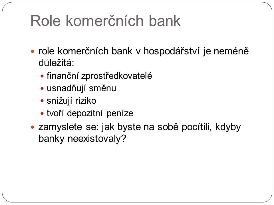 Role komerčních bank role komerčních bank v hospodářství je neméně důležitá: finanční zprostředkovatelé usnadňují směnu snižují riziko tvoří depozitní