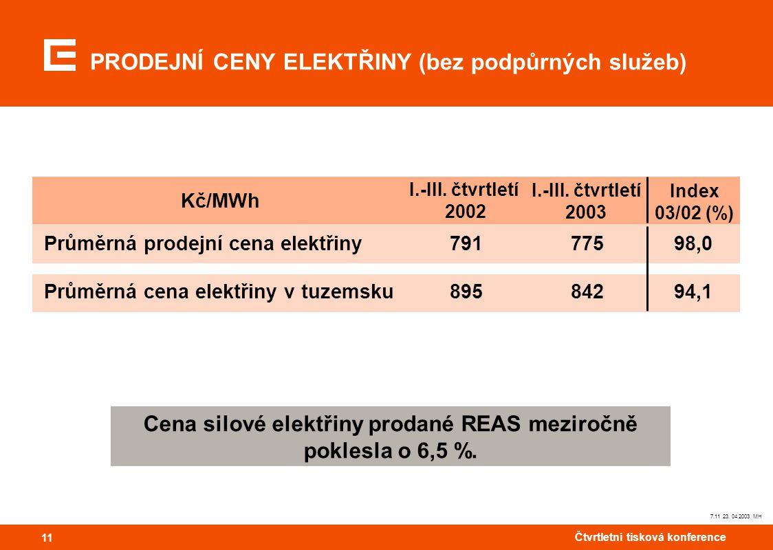 11 Čtvrtletní tisková konference 11 7.11 23. 04.2003 MH Cena silové elektřiny prodané REAS meziročně poklesla o 6,5 %. PRODEJNÍ CENY ELEKTŘINY (bez po