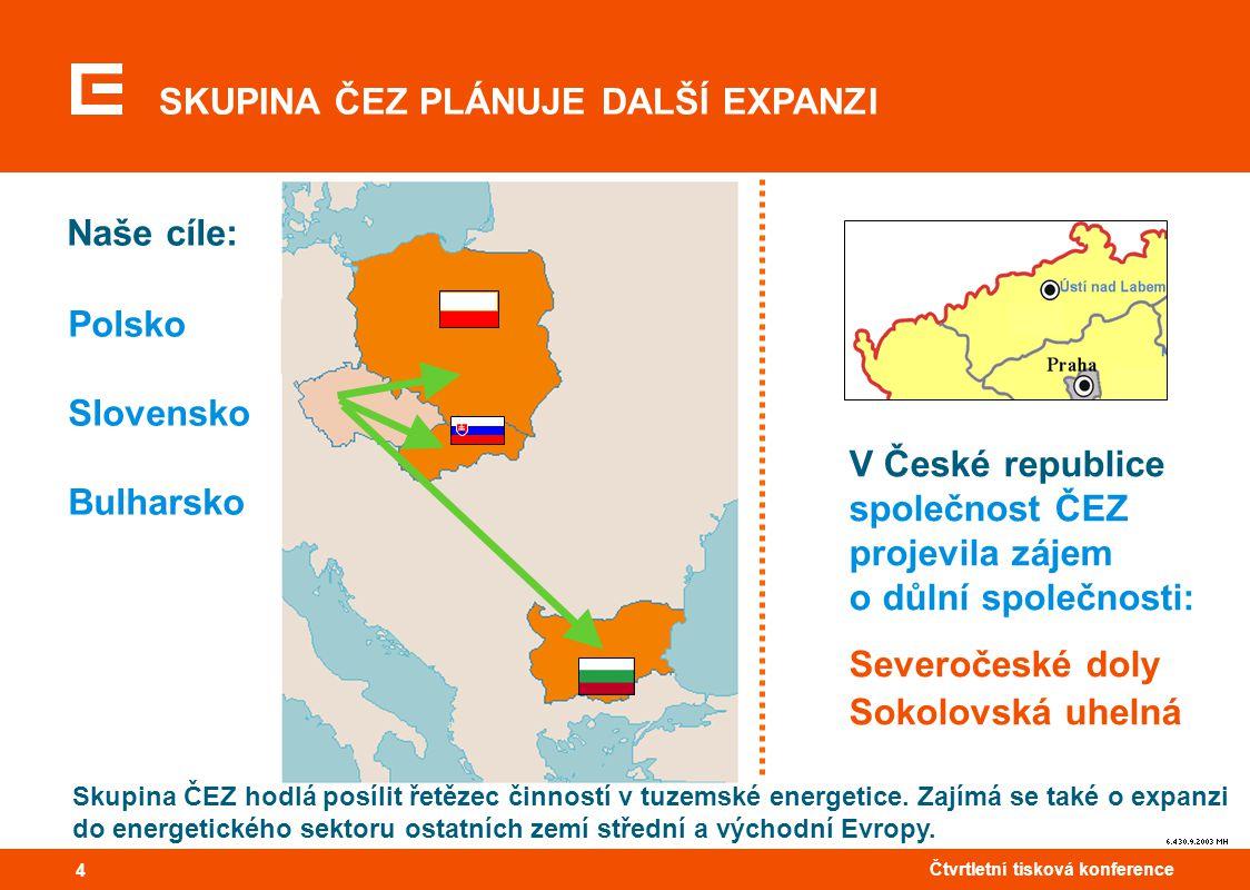 44 Čtvrtletní tisková konference 4 SKUPINA ČEZ PLÁNUJE DALŠÍ EXPANZI Polsko Slovensko Bulharsko Naše cíle: Skupina ČEZ hodlá posílit řetězec činností