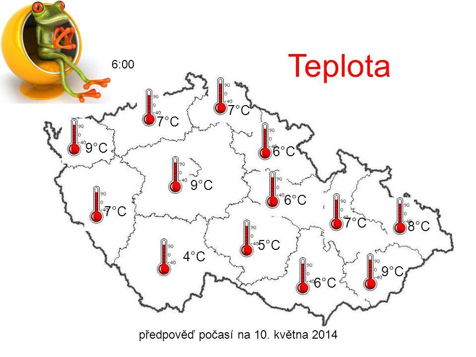 předpověď počasí na 10. května 2014 6:00 Oblačnost
