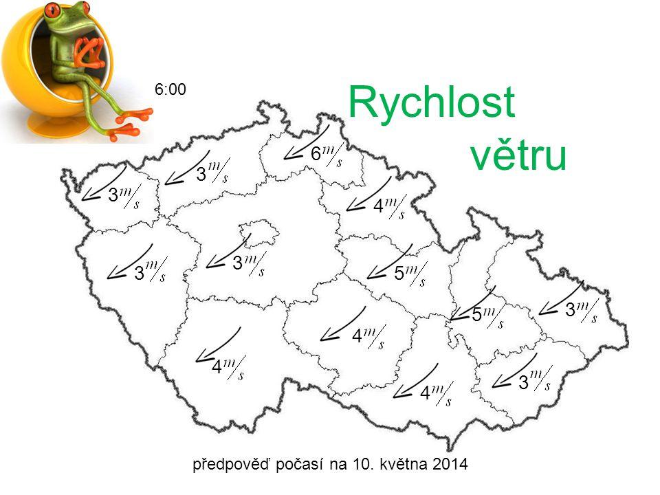 předpověď počasí na 10. května 2014 6:00 Srážky