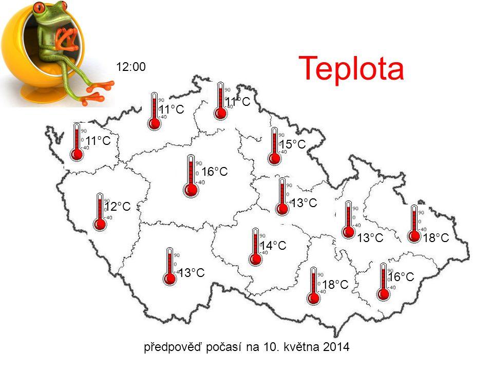 předpověď počasí na 10. května 2014 12:00 Oblačnost