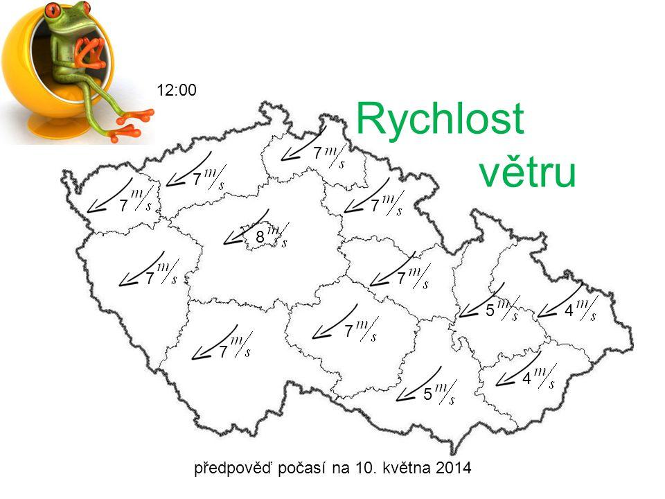 předpověď počasí na 10. května 2014 12:00 Srážky
