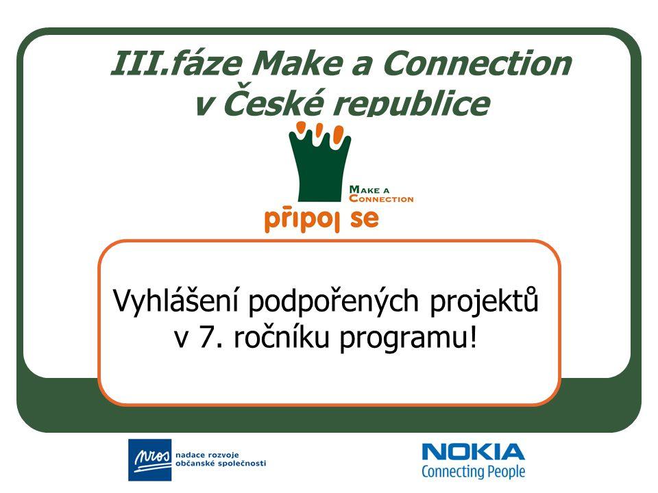 III.fáze Make a Connection v České republice Vyhlášení podpořených projektů v 7. ročníku programu!