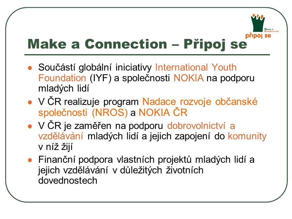 Make a Connection – Připoj se Součástí globální iniciativy International Youth Foundation (IYF) a společnosti NOKIA na podporu mladých lidí V ČR realizuje program Nadace rozvoje občanské společnosti (NROS) a NOKIA ČR V ČR je zaměřen na podporu dobrovolnictví a vzdělávání mladých lidí a jejich zapojení do komunity v níž žijí Finanční podpora vlastních projektů mladých lidí a jejich vzdělávání v důležitých životních dovednostech