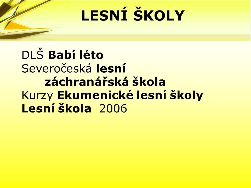 DLŠ Babí léto Severočeská lesní záchranářská škola Kurzy Ekumenické lesní školy Lesní škola 2006 LESNÍ ŠKOLY