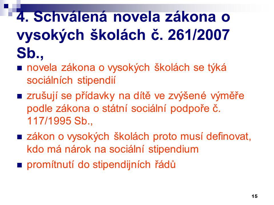 15 4. Schválená novela zákona o vysokých školách č. 261/2007 Sb., novela zákona o vysokých školách se týká sociálních stipendií zrušují se přídavky na