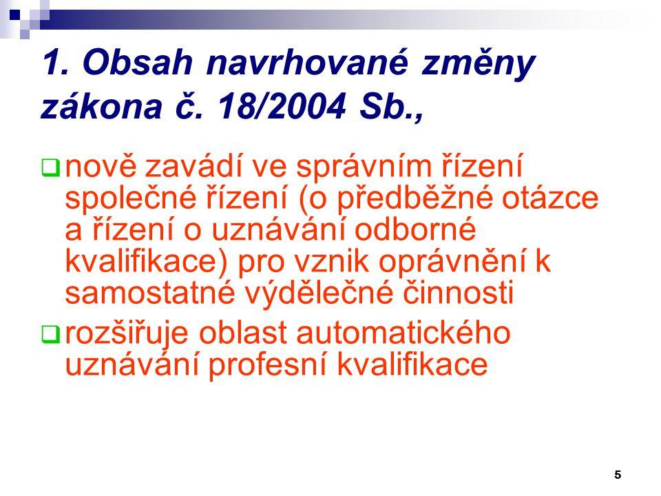 5 1. Obsah navrhované změny zákona č. 18/2004 Sb.,  nově zavádí ve správním řízení společné řízení (o předběžné otázce a řízení o uznávání odborné kv