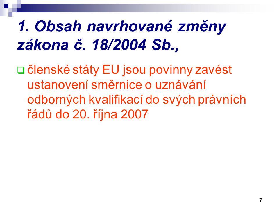 7 1. Obsah navrhované změny zákona č. 18/2004 Sb.,  členské státy EU jsou povinny zavést ustanovení směrnice o uznávání odborných kvalifikací do svýc