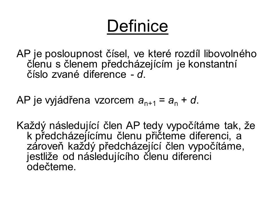 Definice AP je posloupnost čísel, ve které rozdíl libovolného členu s členem předcházejícím je konstantní číslo zvané diference - d. AP je vyjádřena v