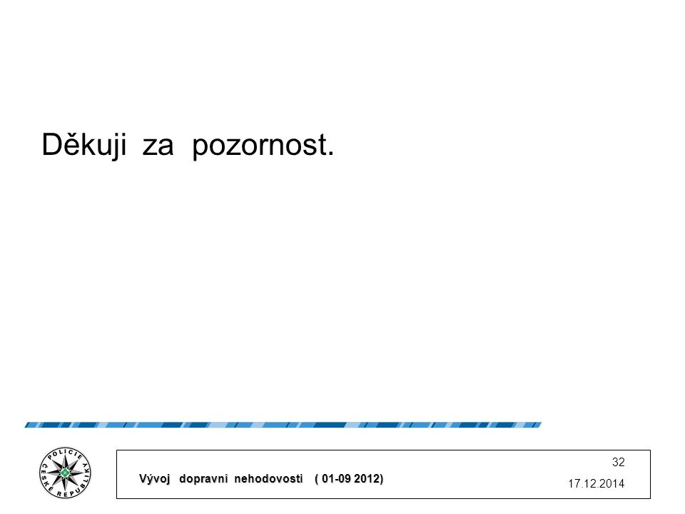 Děkuji za pozornost. 17.12.2014 32 Vývoj dopravní nehodovosti ( 01-09 2012)
