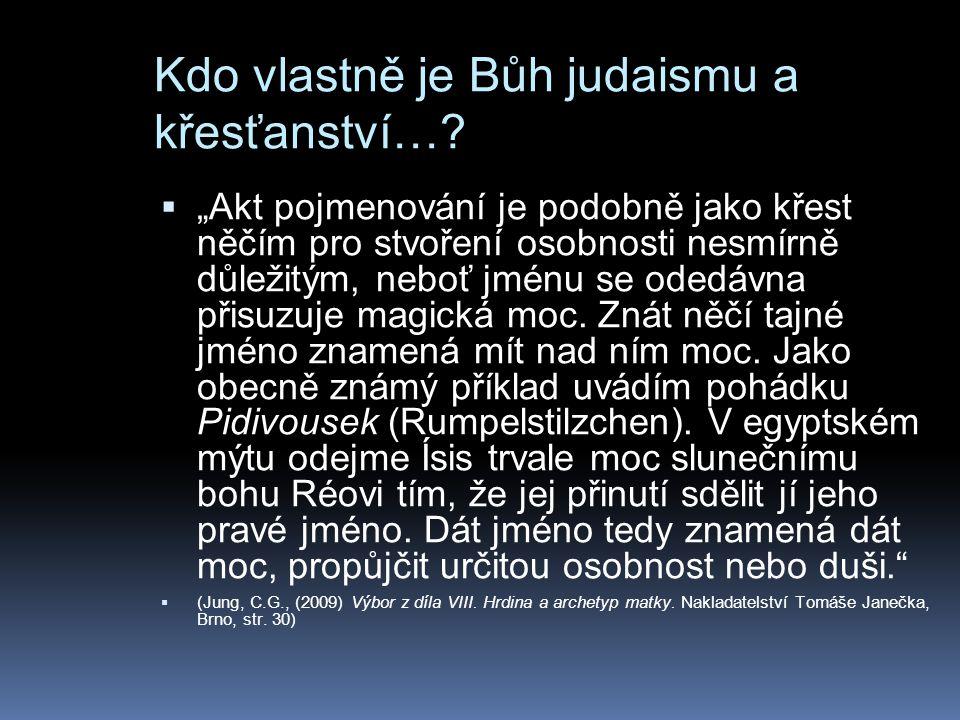 """Kdo vlastně je Bůh judaismu a křesťanství…?  """"Akt pojmenování je podobně jako křest něčím pro stvoření osobnosti nesmírně důležitým, neboť jménu se o"""