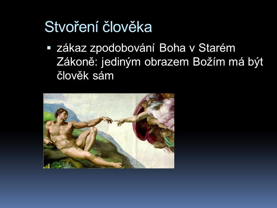 Stvoření člověka  zákaz zpodobování Boha v Starém Zákoně: jediným obrazem Božím má být člověk sám