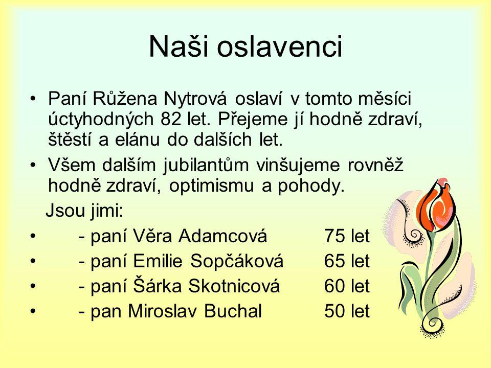 Naši oslavenci Paní Růžena Nytrová oslaví v tomto měsíci úctyhodných 82 let.