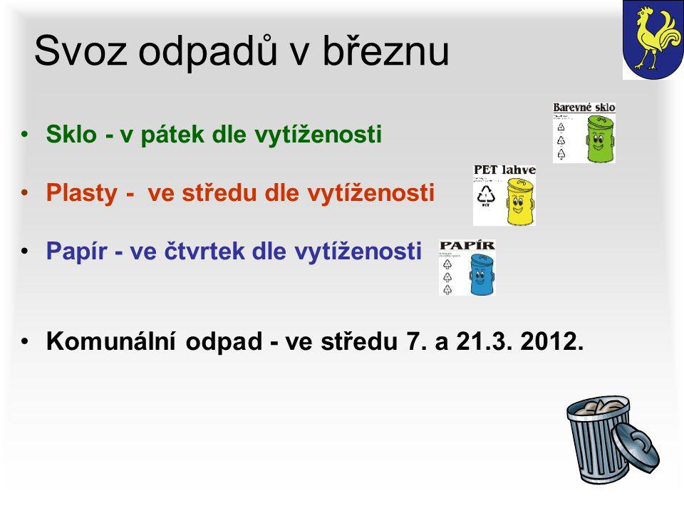Svoz odpadů v březnu Sklo - v pátek dle vytíženosti Plasty - ve středu dle vytíženosti Papír - ve čtvrtek dle vytíženosti Komunální odpad - ve středu 7.