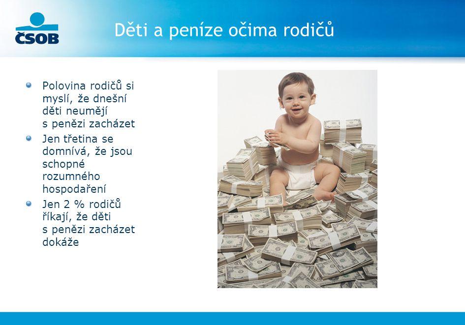 Děti a peníze očima rodičů Polovina rodičů si myslí, že dnešní děti neumějí s penězi zacházet Jen třetina se domnívá, že jsou schopné rozumného hospod