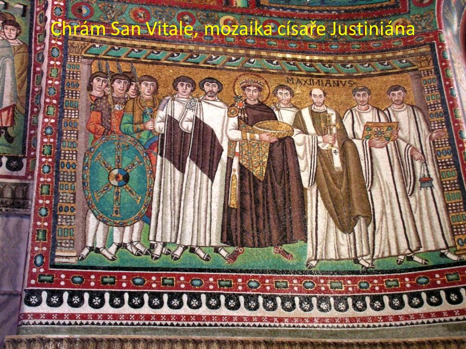 Chrám San Vitale, mozaika císaře Justiniána