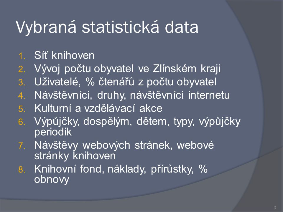 Vybraná statistická data 1. Síť knihoven 2. Vývoj počtu obyvatel ve Zlínském kraji 3.