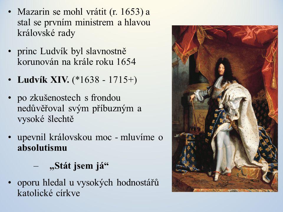 spolupracovníky a úředníky vyhledával mezi vzdělanými měšťany jeho nejlepším byl ministr financí Jean - Baptiste Colbert (1619 - 1683) v hospodářství prosazoval zásady merkantilismu podpora francouzské výroby a soběstačnosti, důraz na vývoz, velká cla na dovoz, zakládání státních manufaktur (goblény, sklo, lodě) podporoval získávání zámořských kolonií