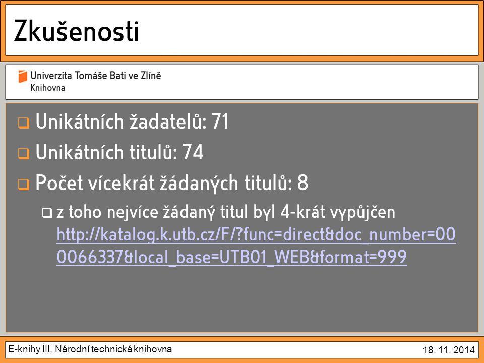 E-knihy III, Národní technická knihovna 18. 11.