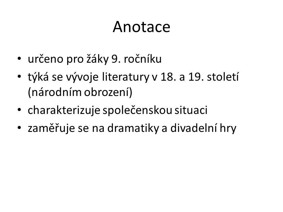 Anotace určeno pro žáky 9. ročníku týká se vývoje literatury v 18.