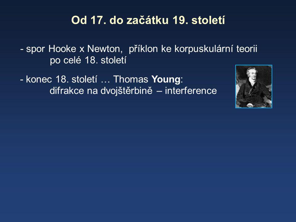 Od 17. do začátku 19. století - spor Hooke x Newton, příklon ke korpuskulární teorii po celé 18. století - konec 18. století … Thomas Young: difrakce