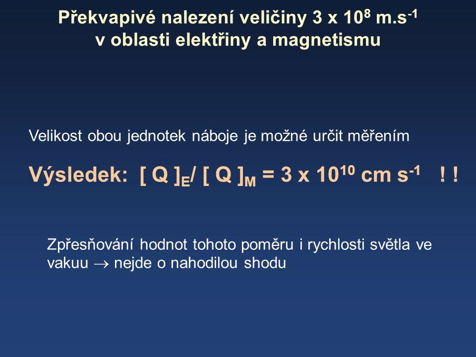 Překvapivé nalezení veličiny 3 x 10 8 m.s -1 v oblasti elektřiny a magnetismu Velikost obou jednotek náboje je možné určit měřením Výsledek: [ Q ] E /
